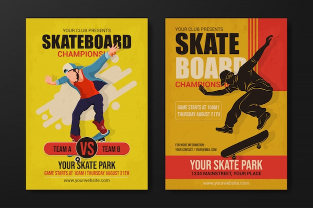 Set of skateboard championship flyer template on yellow