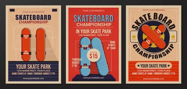 Set of skateboard championship flyer template