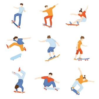 Set of skateboarders doing various tricks  on white background