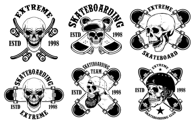 Set of skateboarding club emblems with skulls