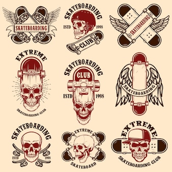 Set of skateboarding club emblems with skulls.