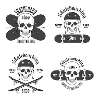 Set of skateboarding emblems, labels and designed elements. set 2