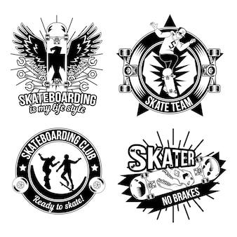 Set di emblemi di skateboard, loghi. isolato su bianco