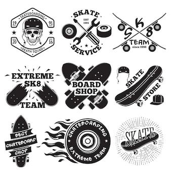 Set of skateboarding labels
