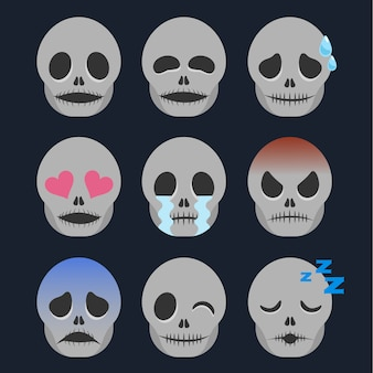 Set of skeleton emoticon sticker isolated