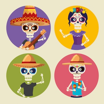 Set skeletons wearing hat and catrina to celebrate event
