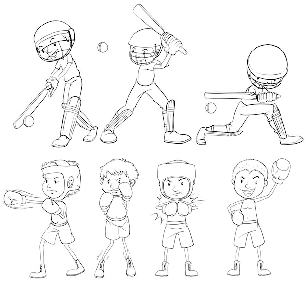 Set of sketch athlete