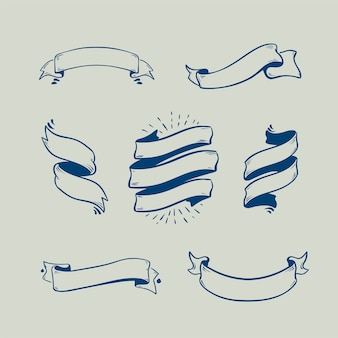 Set of sketch doodle ribbon banners, handdrawn ribbons