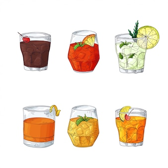 Set of sketch drawn illustrations of cocktails.