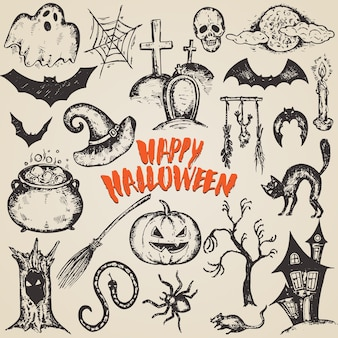 Set of sketch halloween characters with witch hat