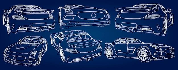그라데이션이 있는 파란색 배경에 현대적인 스포츠카의 스케치를 설정합니다.
