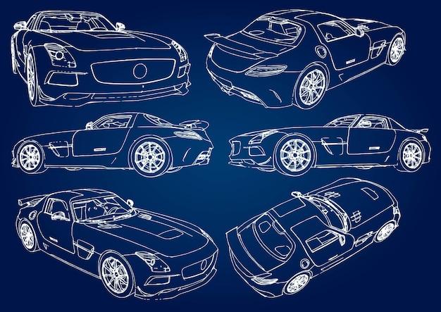Установите эскиз современного спортивного автомобиля на синем фоне с градиентом.