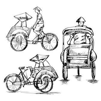 인도네시아에서 becak이라고 하는 전통적인 세발자전거의 스케치 세트