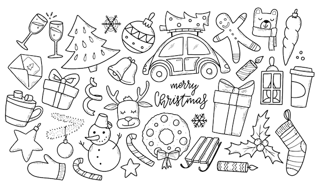 Set of sketched christmas doodles