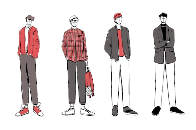 Set of sketches of beautiful and diverse fashion outfits.
