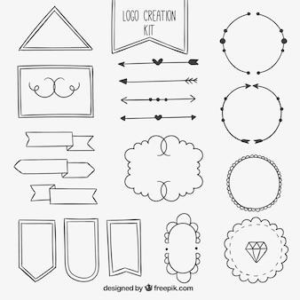 Set di schizzi elementi ornamentali