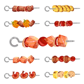 Set of skewers kebabs isolated on white