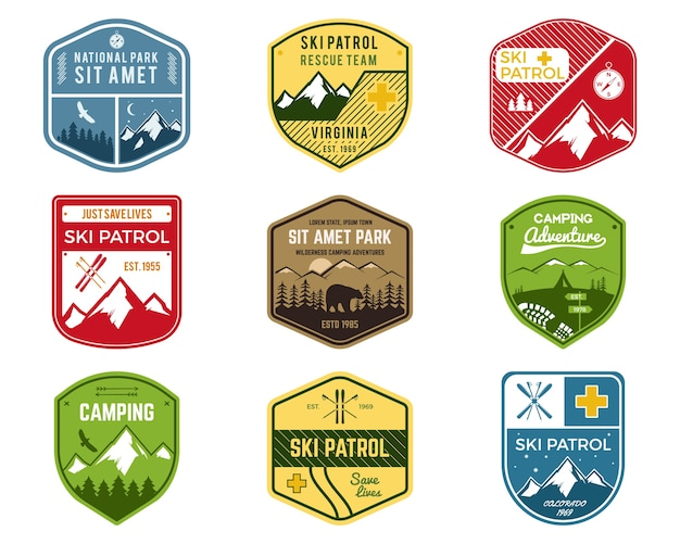 Set of ski club, patrol labels.