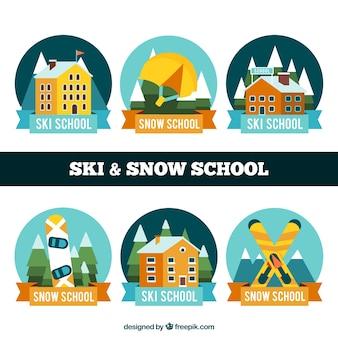 Set of ski resort stickers Free Vector