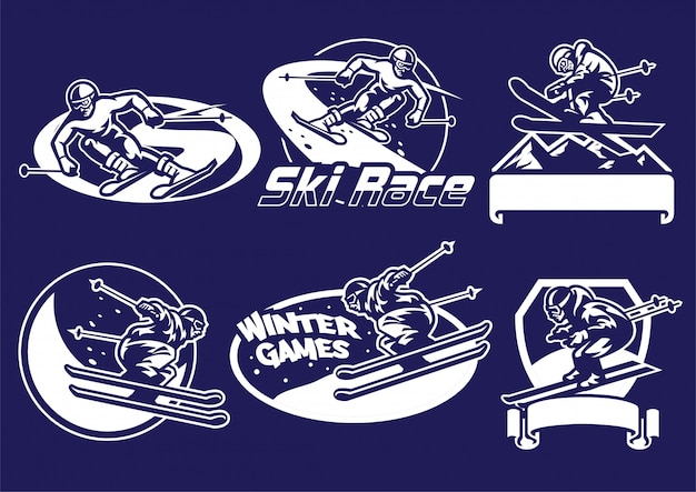 Set of skiing logo collection