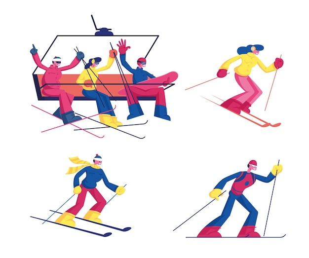 Set of skiing winter sport activity isolated on white background. cartoon flat illustration