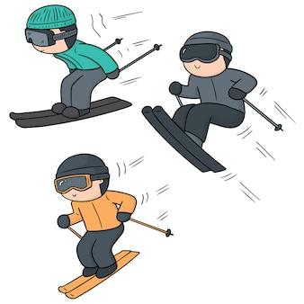 Set of skiing