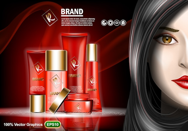 Set of skin care cream ads