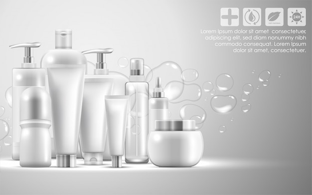 Set of skin care natural beauty product packaging