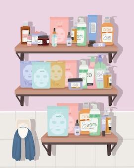 Set of skincare elements on a shelf inside of a bathroom