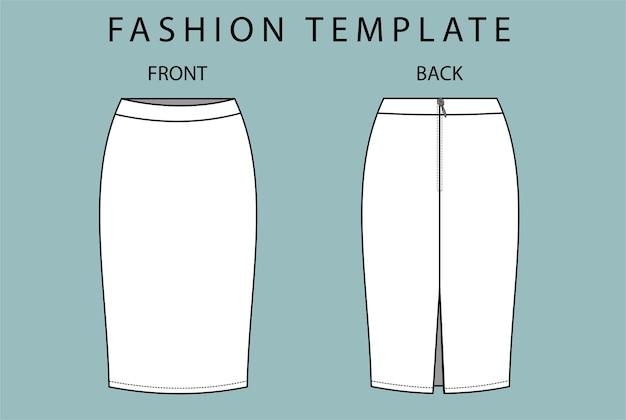 Установить юбку спереди и сзади. юбка модный плоский эскиз шаблона