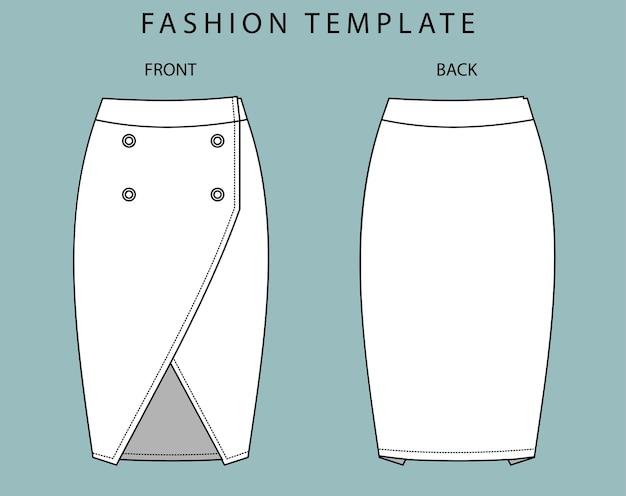 セットスカートの正面図と背面図