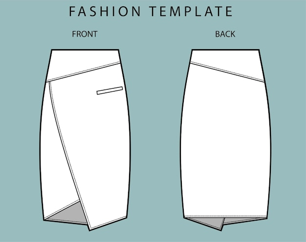 Set skirt front and back view
