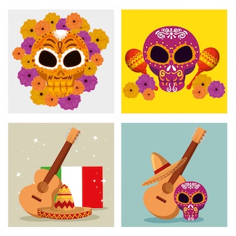 Set skull decoration with guitar and hat