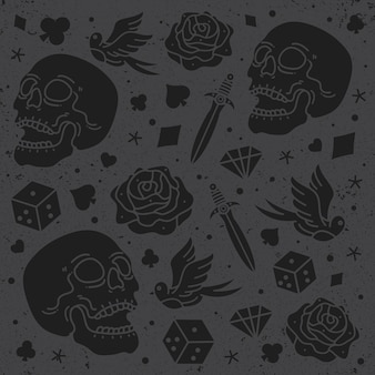 Set skull design pattern vector