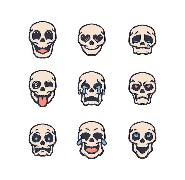 Set of skull emojis