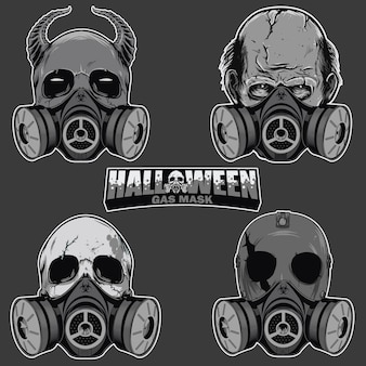 Set of skull head with gas mask