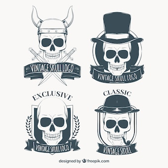 Set of skull logos with hand drawn ribbons