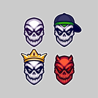 Set of skull mascot logo