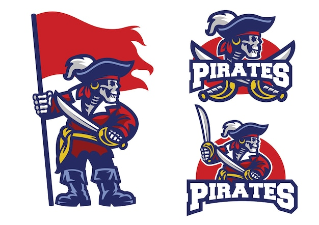 Set of skull pirates mascot isolated on white