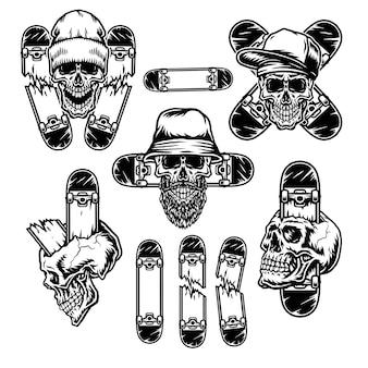 Set of skull with skateboard, isolated on white background