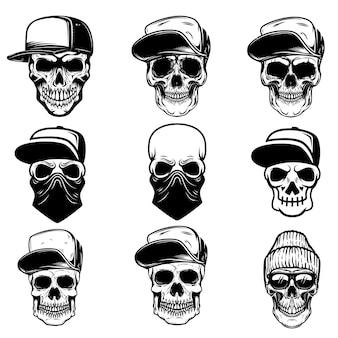 Set of skulls in baseball cap and bandana. design element for logo, label, sign, poster, banner.
