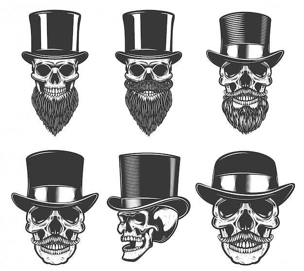 Set of skulls in retro hats.  element for poster, card, t shirt, emblem, badge.  image
