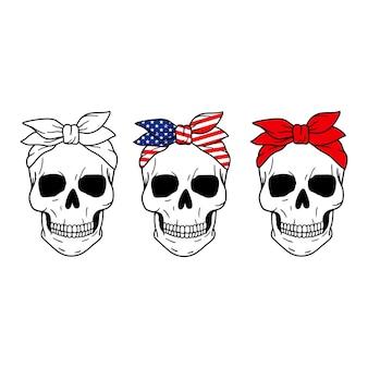 Set of skulls skull with red bandana american flag print halloween
