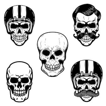 Set of skulls on white background. cranium in racer helmet.  for emblem, sign, logo, label, badge.  image