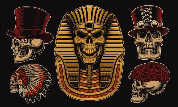 Set of skulls with different characters such as an egyptian pharaoh
