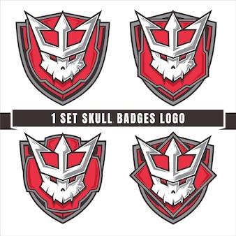 Set of skulls with king crown badge logo