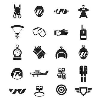 Set of sky diving icon