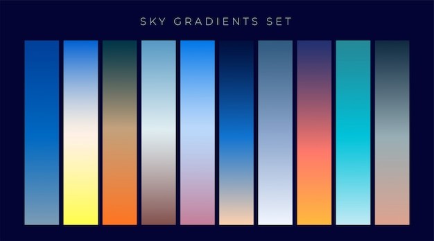Set of sky gradients background