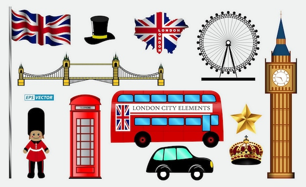Set of skyline or cityscape of londoneps vector
