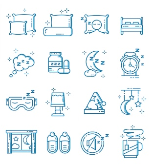 Set of sleep icons with outline style